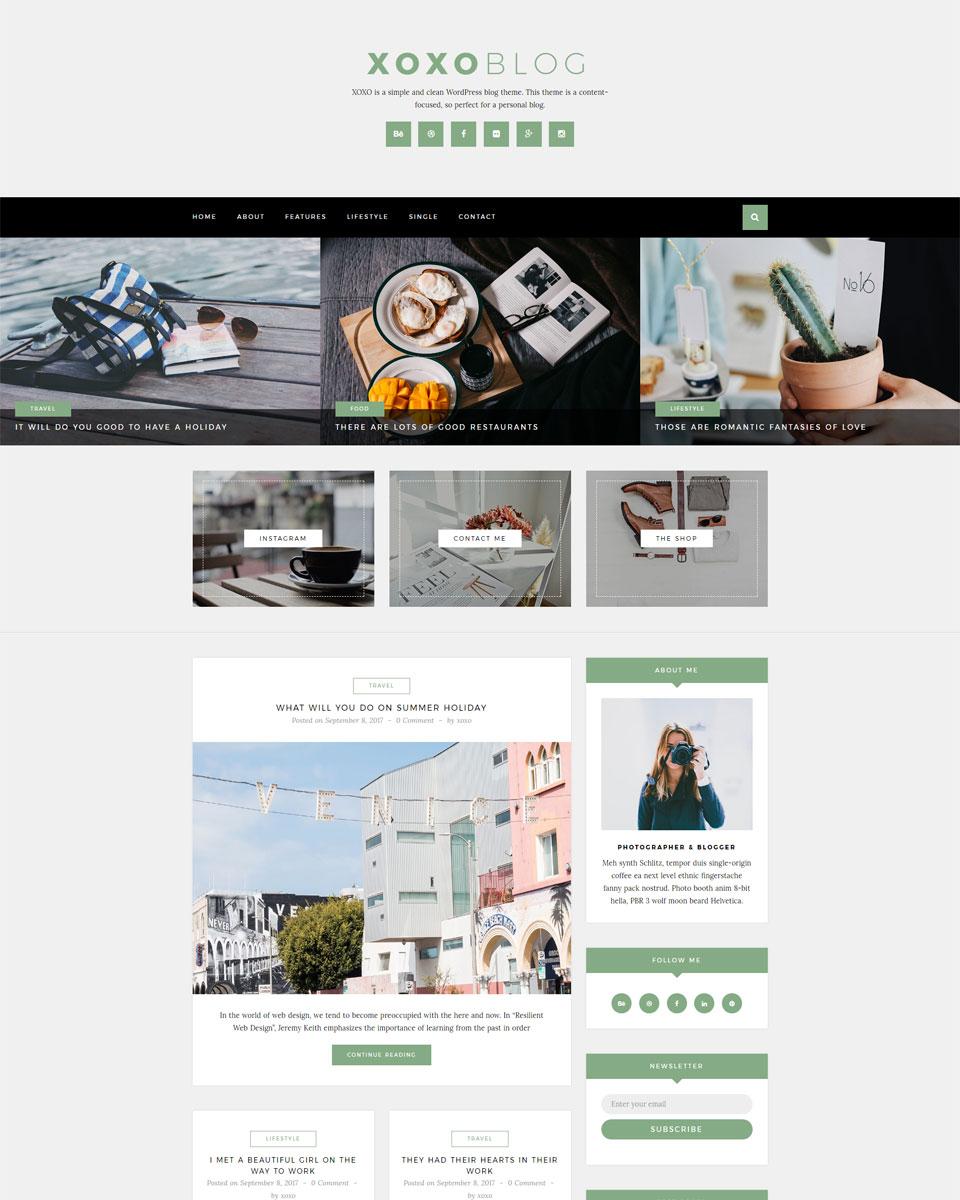 Xoxo Simple Clean Wordpress Blog Theme Kendy Creative